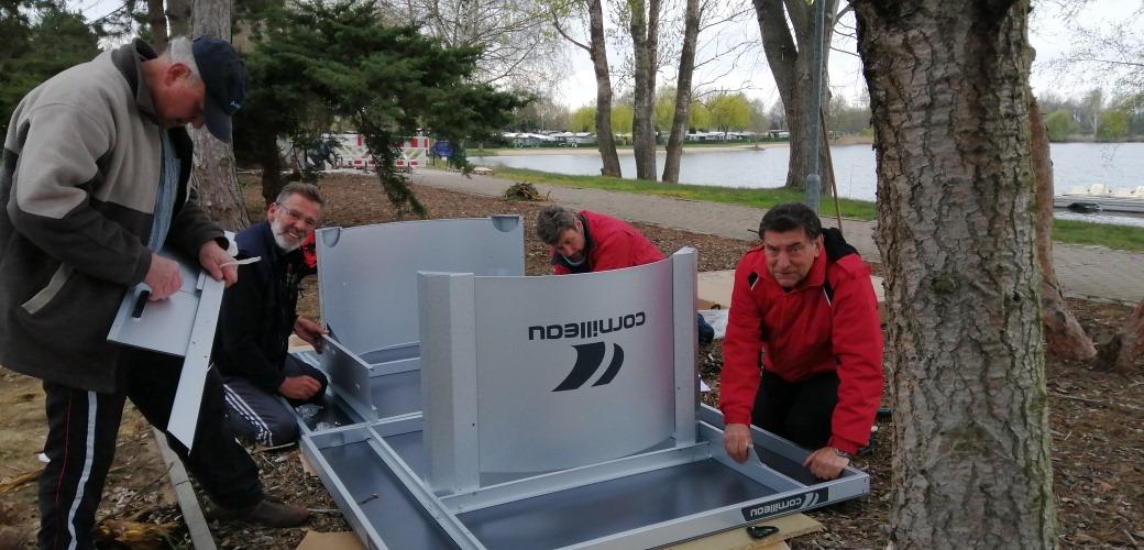 Aufbau der TT-Platten am Kiebitzsee, 6. Auswahlrunde KLI